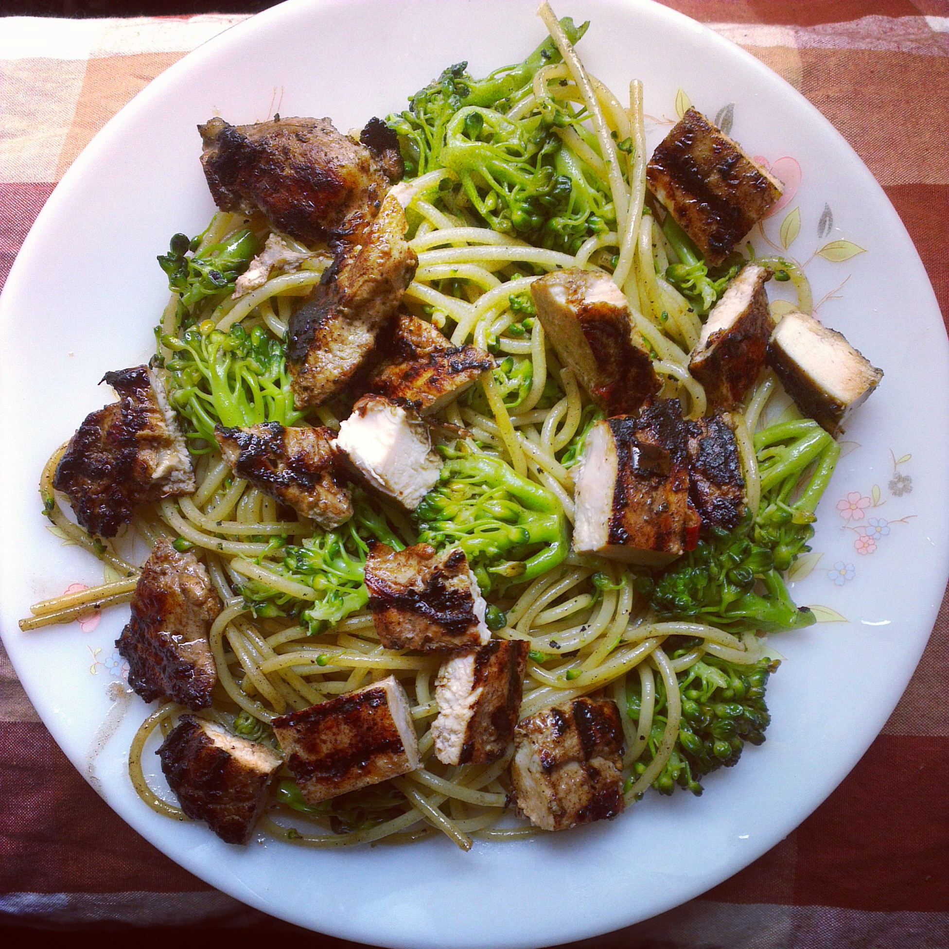 Jerk Chicken Spaghetti with broccoli