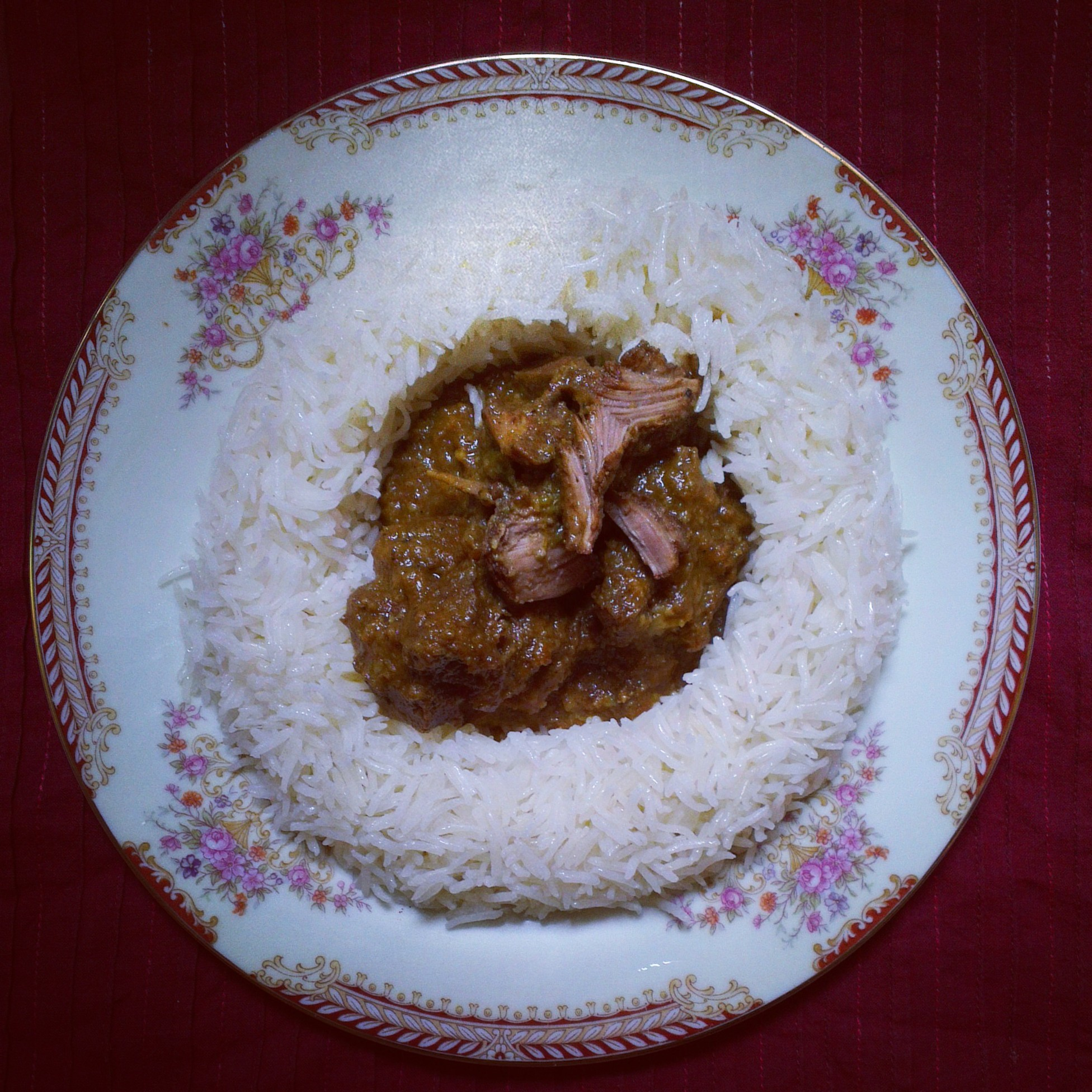 Mutton curry and rice