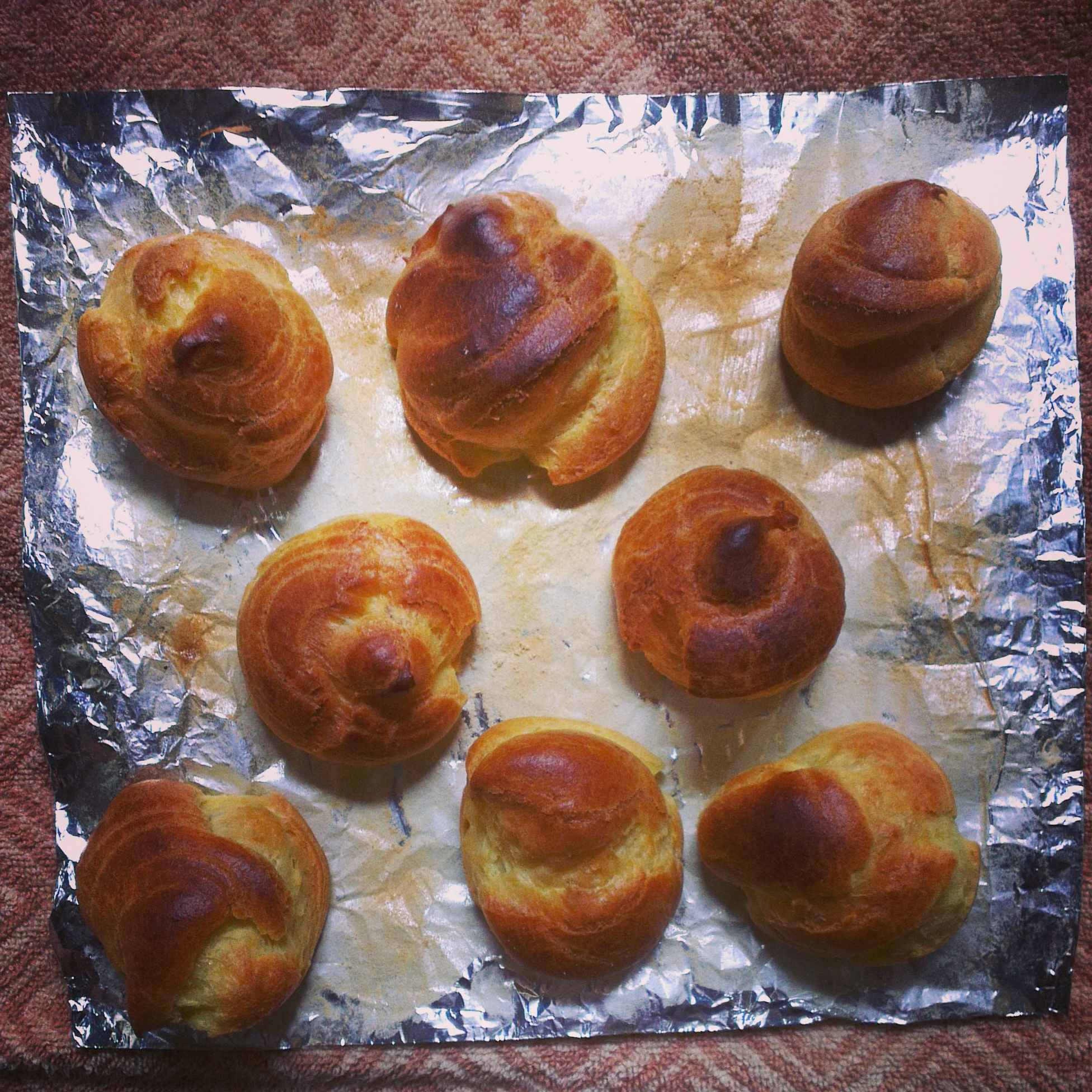 freshly baked choux pastry