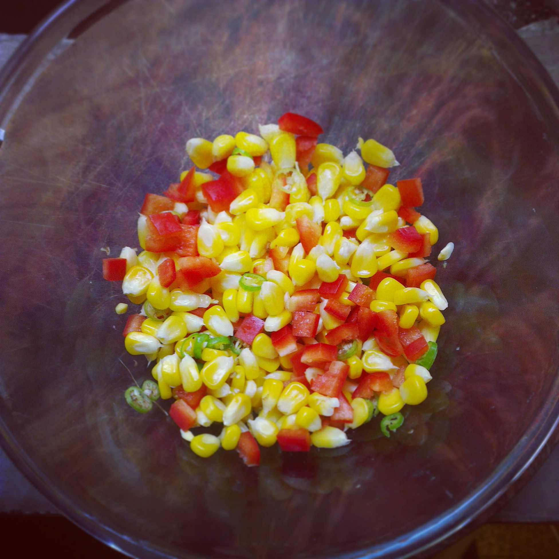 Diced red bell pepper, corn and chillies