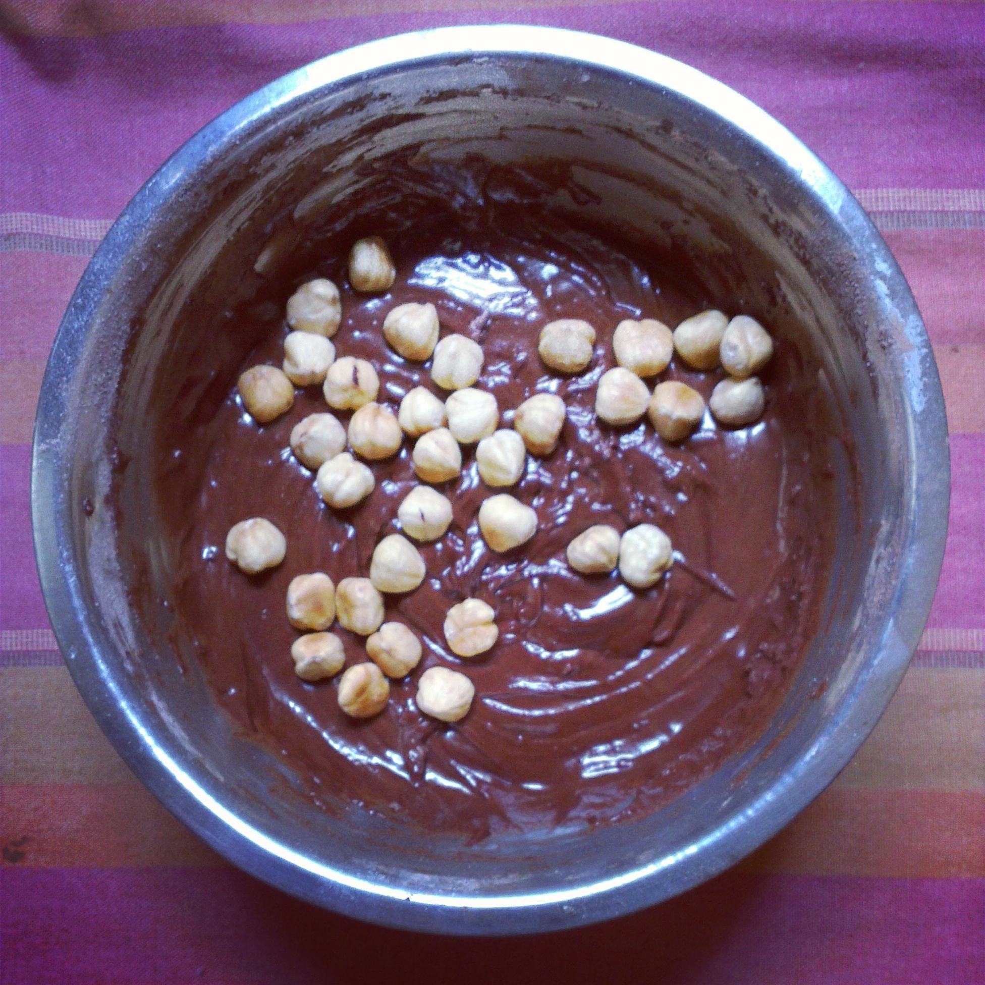 Chocolate dough with roasted hazelnuts