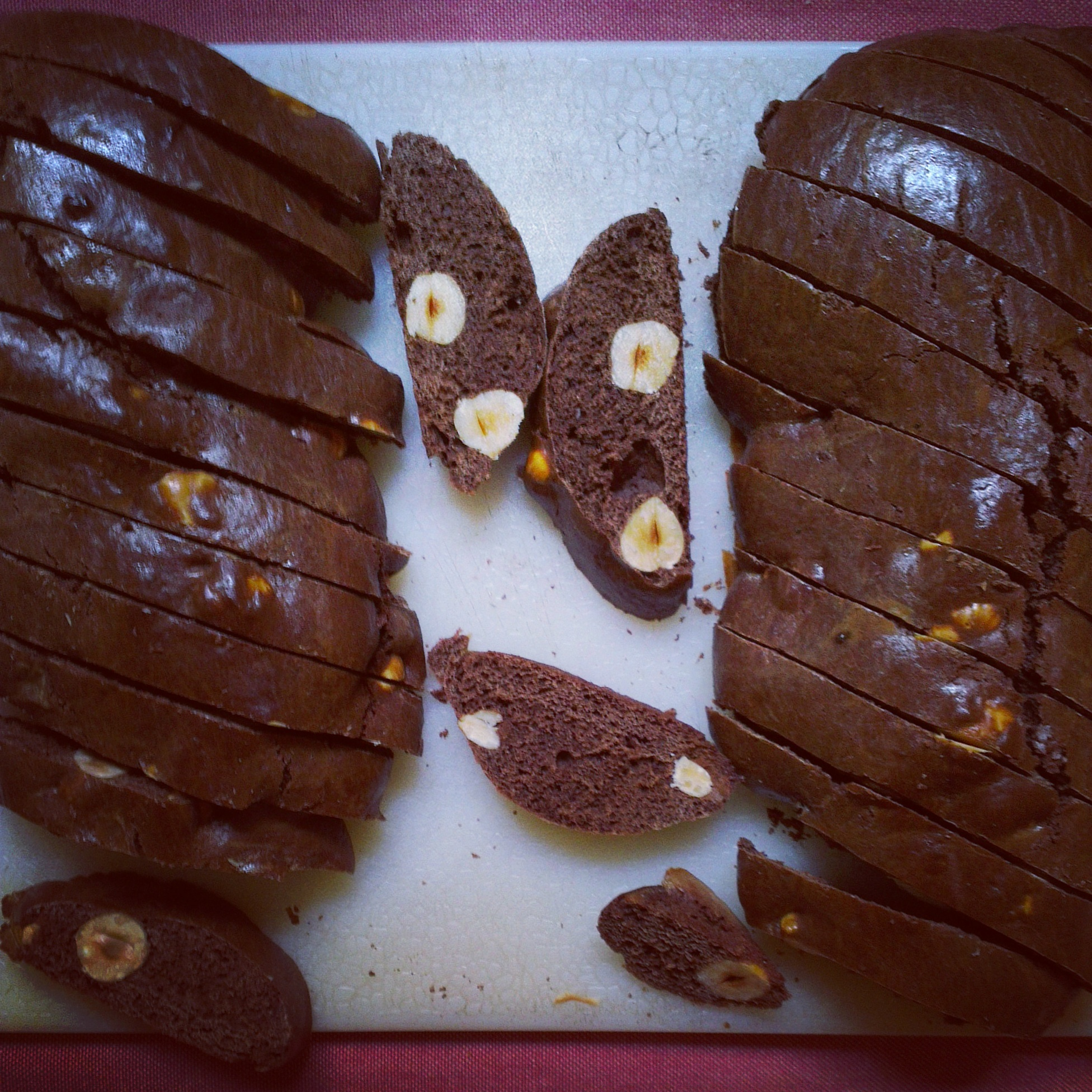 Chocolate Hazelnut Biscotti, after the first bake, sliced into 12mm slices