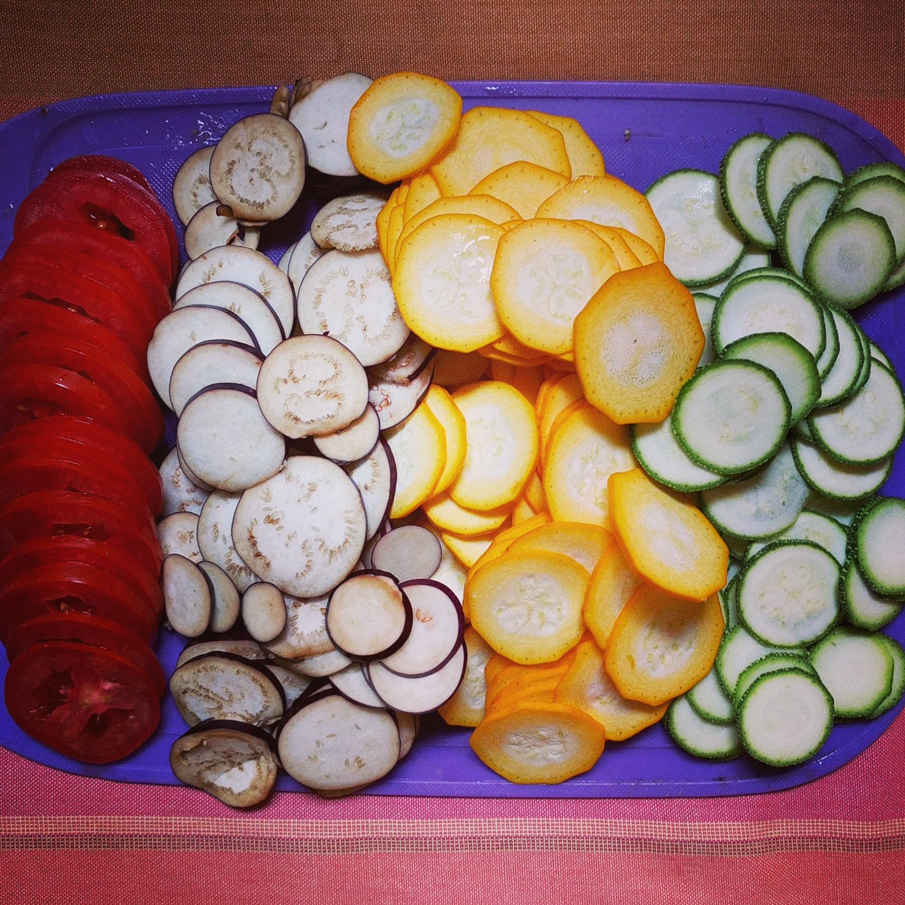 sliced brinjal and zucchini